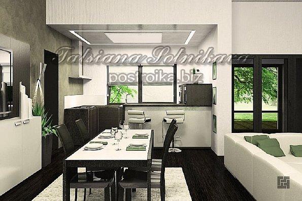Индивидуальный дизайн кухни совмещенной с гостиной.