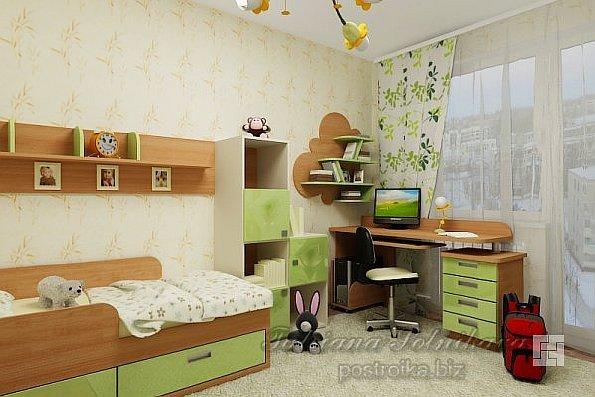 Дизайн-проект комнаты для ребёнка в бежево-зелёных тонах