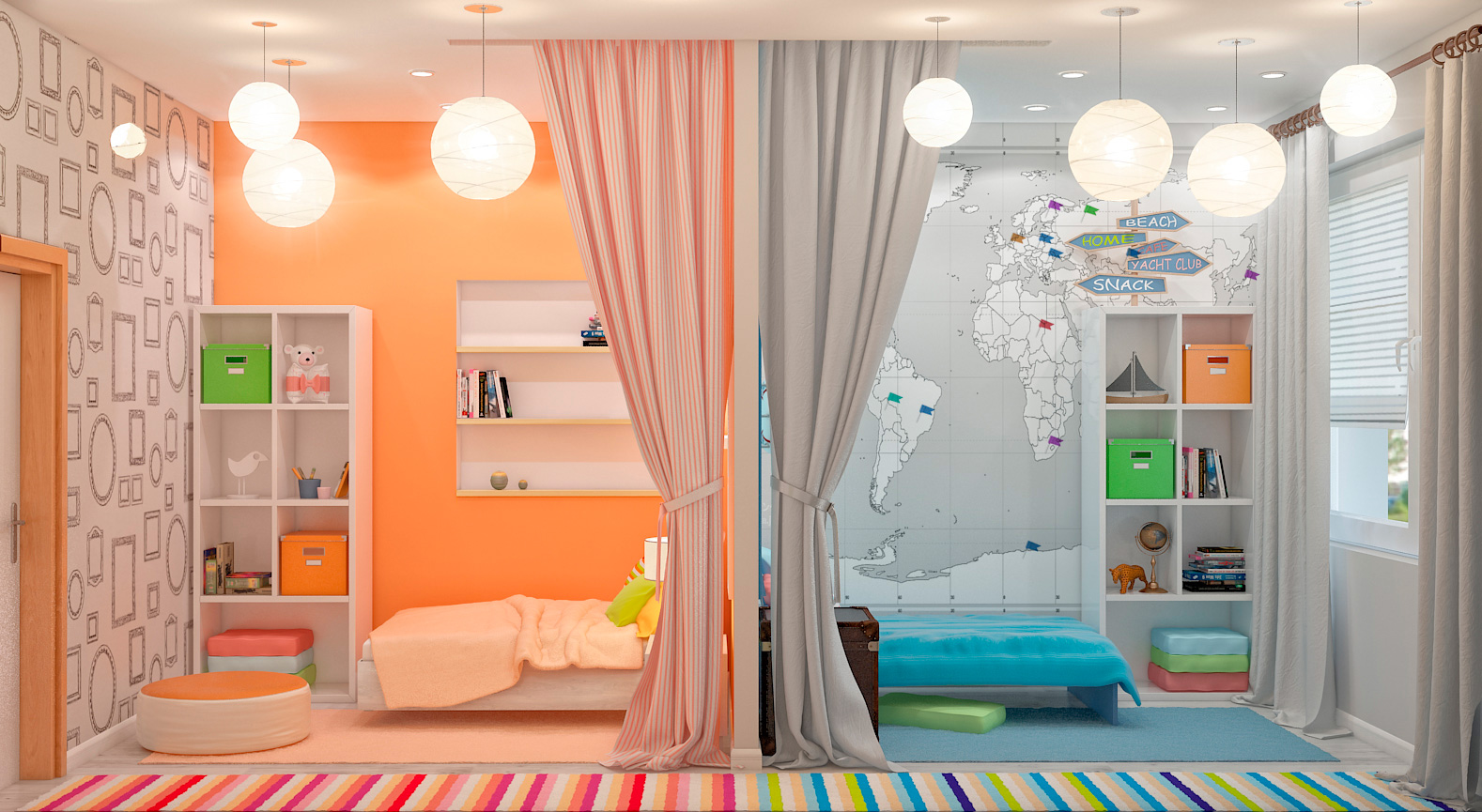Дизайн комнаты разнополых детей