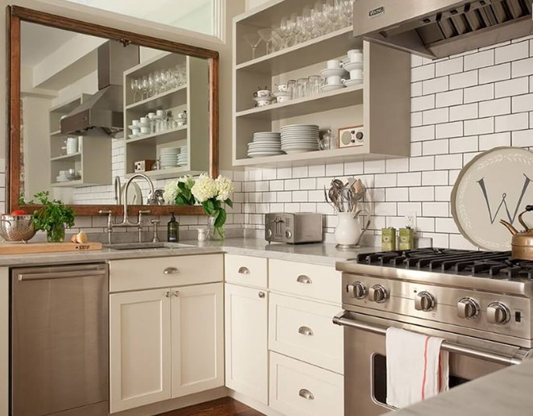 Фото зеркало в интерьере кухни