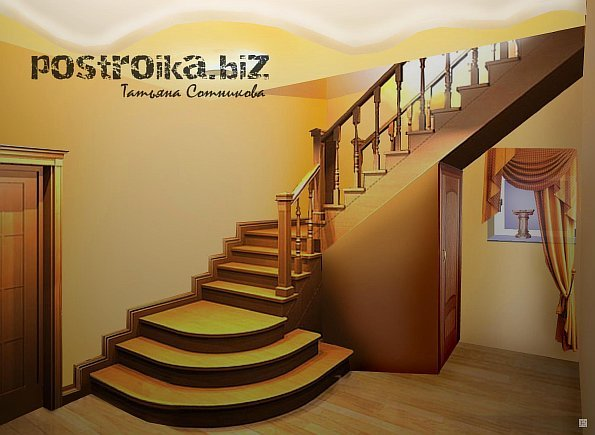 Лестница на 2 этаж в частном доЦветок