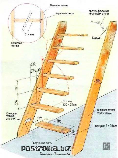 Как сделать лестницу на даче своими руками с