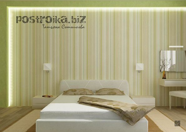 Фото спален с комбинированием обоев маленьких спален 13