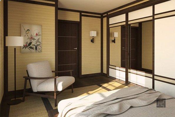 Обои из бамбукового шпона в японском интерьере