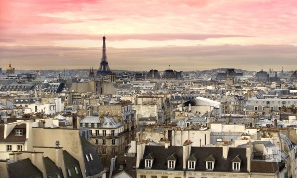панорама Парижа с эйфелем