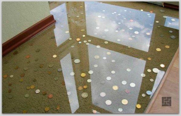 Наливные полы с залитыми монетками
