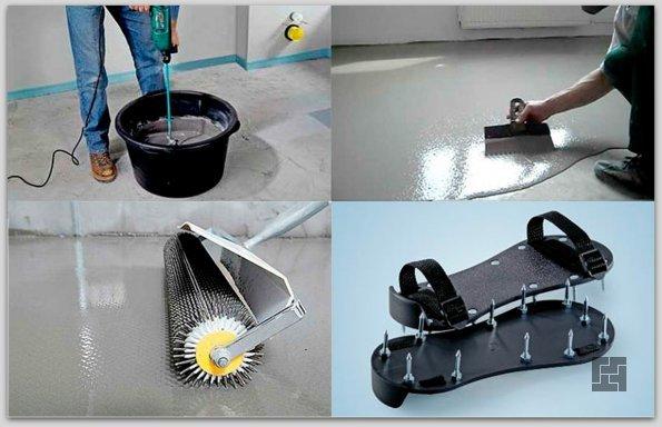 Этапы работы заливки наливных полов. Игольчатый валик. Накладки на обувь с шипами.