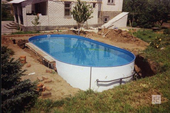 установка чаши сборного бассейна