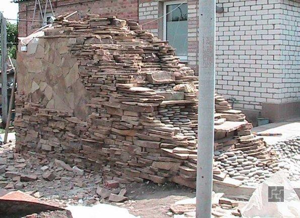 строительство водопада из камня