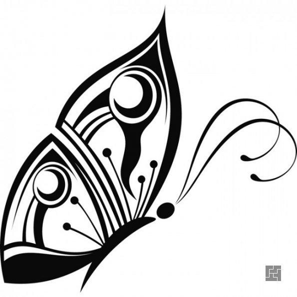 Эскиз для декора стены бабочками