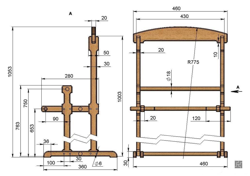 Схема напольной вешалки для