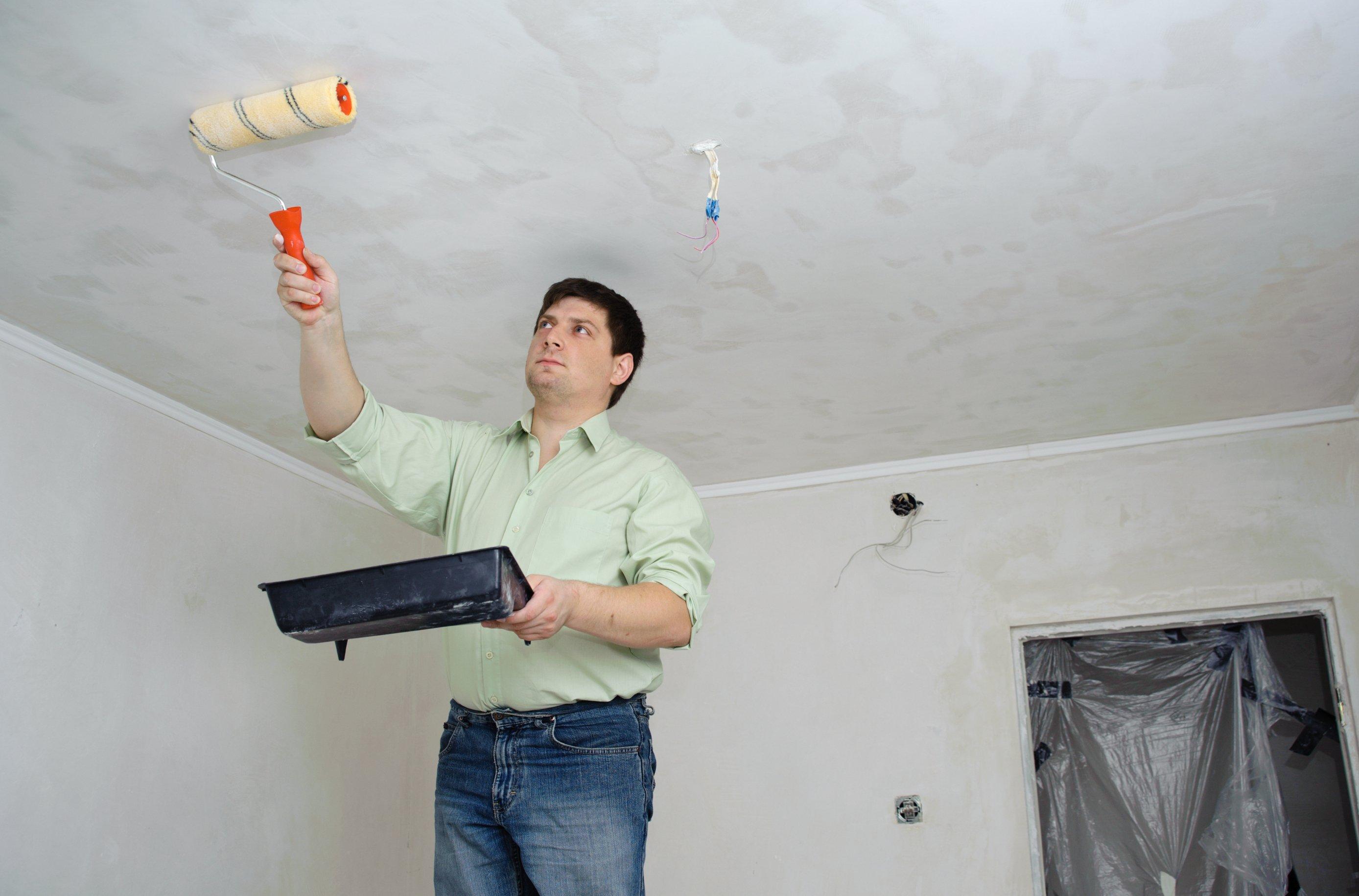 как быстро смыть побелку с потолка видео