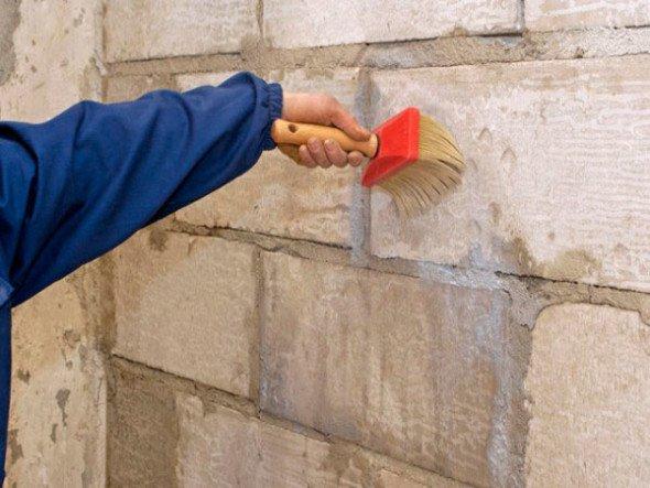Обработка стены антисептической грунтовкой