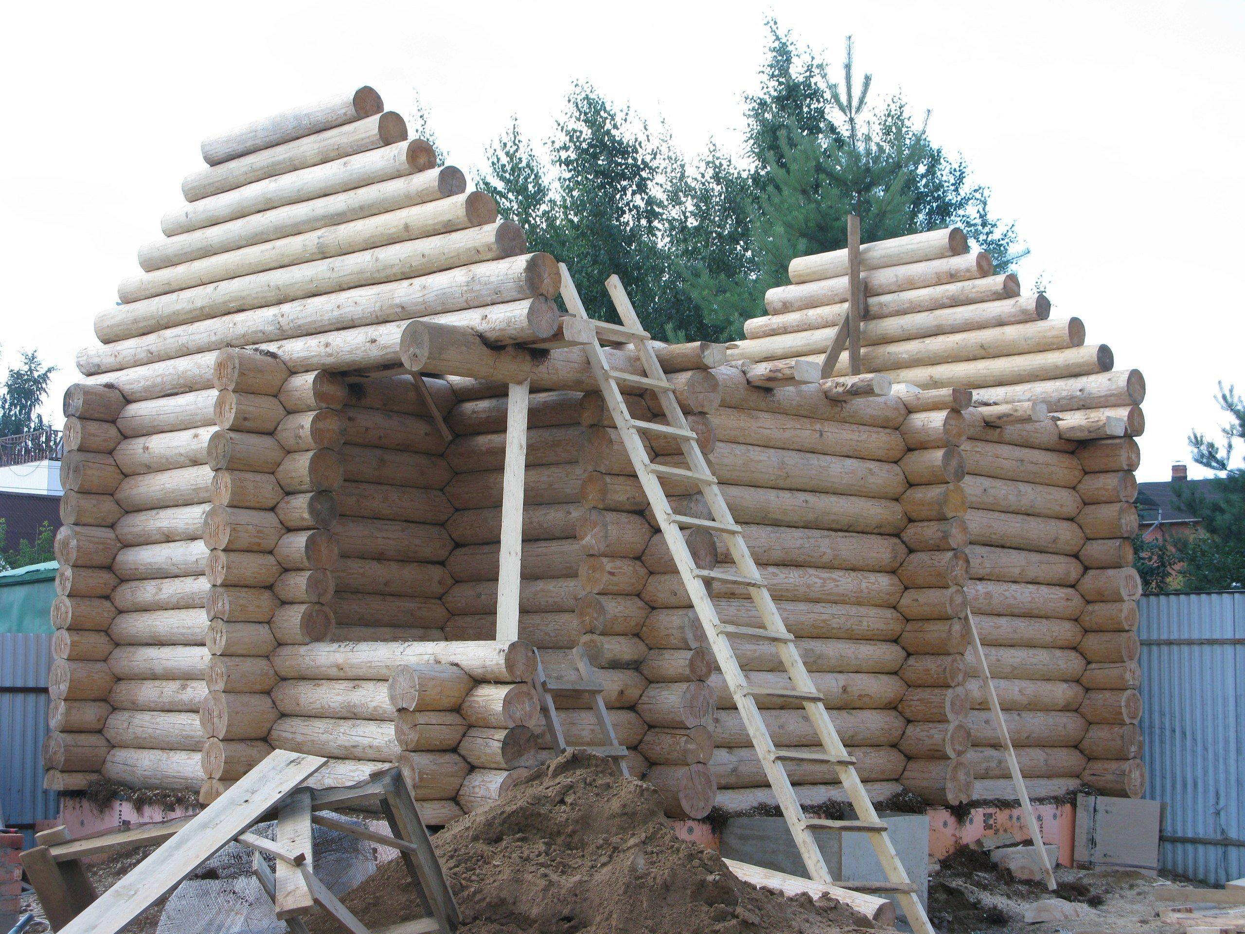 Поэтапное строительство бани из бревна