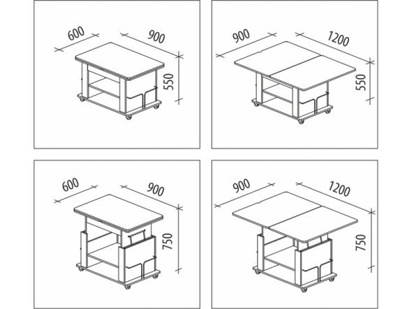 чертежи журнально-обеденного стола-трансформера