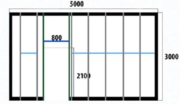 Схема расположения перемычек между стойками каркаса для гипсокартона