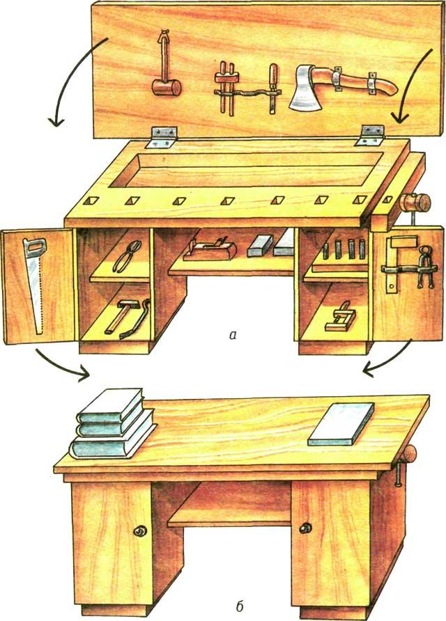 Стол-верстак со складной крышкой