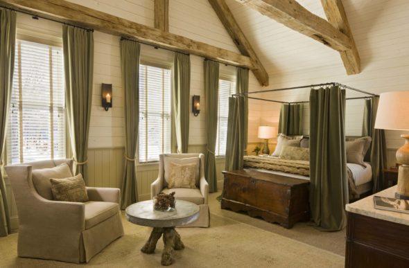 Спальня в эко-стиле с элементами интерьера белого, зеленого и молочного цветов