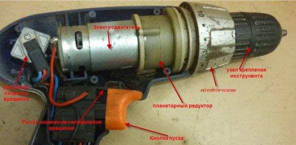 Схема устройства шуруповёрта