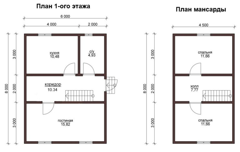 План 1-го этажа и мансарды