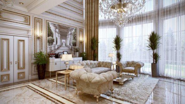 Большая гостиная во французском стиле