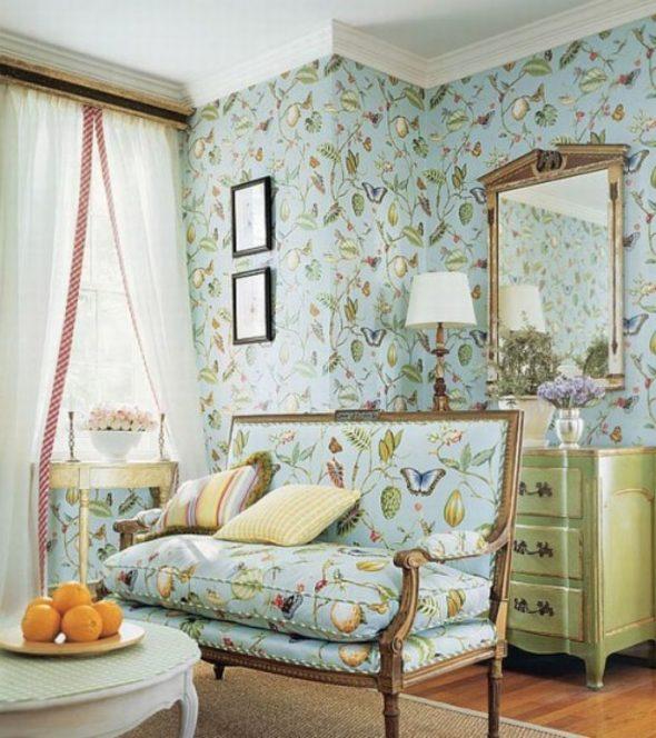 Гостиная в голубых и оливковых тонах