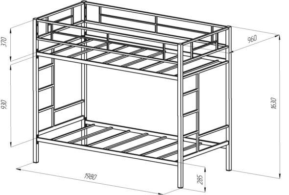 Чертёж металлической кровати