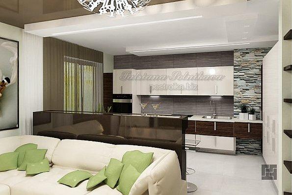 Дизайн залы с кухней