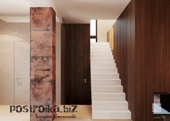 Прямая лестница в частном доме