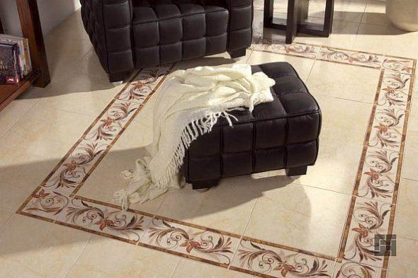 Ковёр из плитки в гостиной бежевого цвета