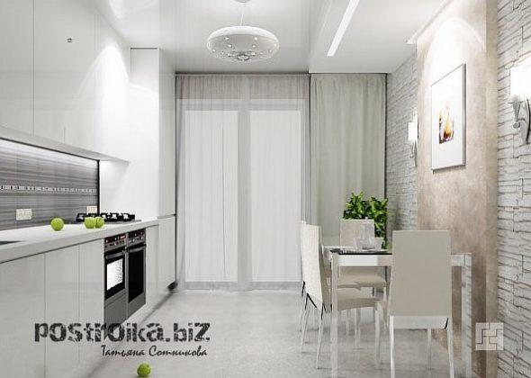 Кухня со светлым нятяжным потолком
