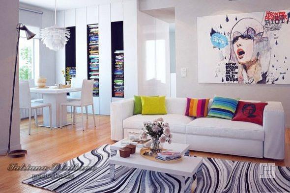 Дизайн-проект гостиной в светлых тонах