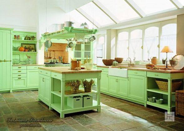 Кухня кантри салатного цвета