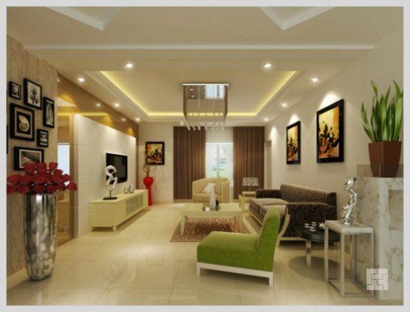 Точечные встраиваемые светодиодные светильники в гостиной