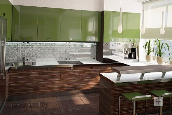 Кухня с фасадами зелёного и коричневого цвета