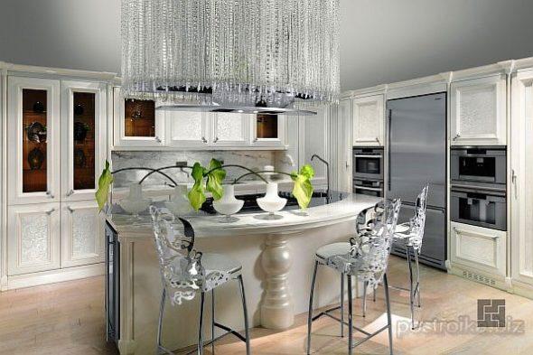 Кухня в серых тонах с барной стойкой