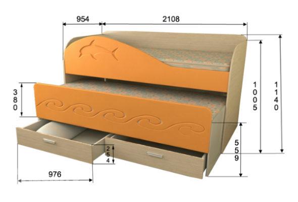 Выкатная кровать с размерами
