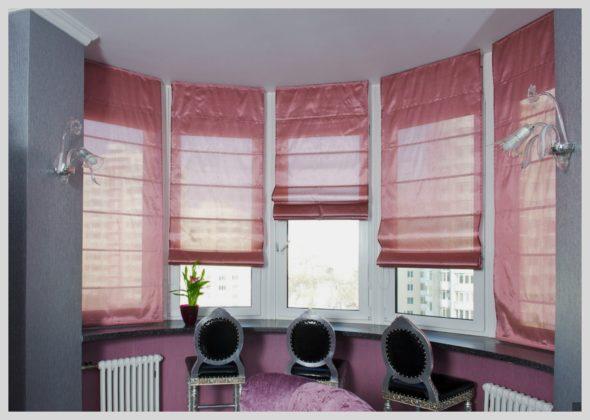 Римские шторы на пластиковых окнах в столовой зоне
