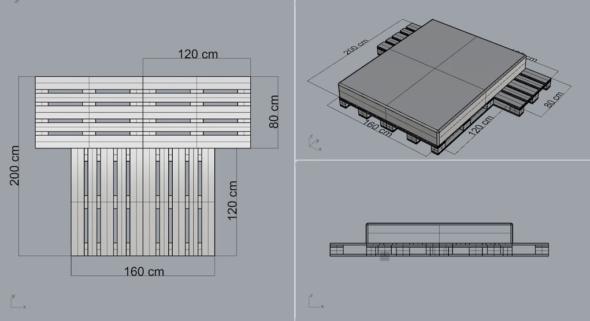 Двуспальная кровать из паллет: схема сборки