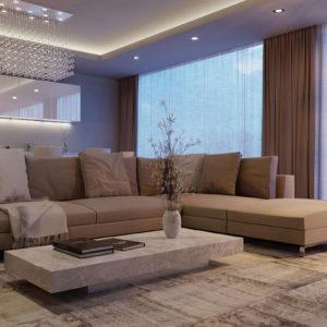 Гостиная с большим диваном в коричневых тонах
