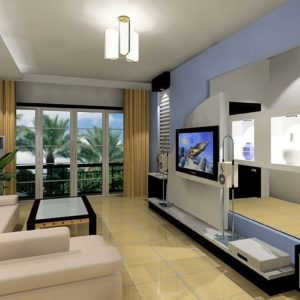 Лавандовый и золотистый оттенки в интерьере гостиной