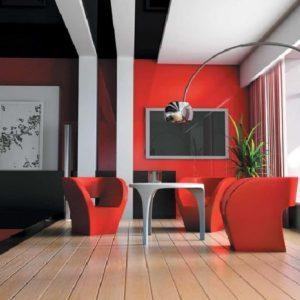 Дизайн гостиной красного цвета