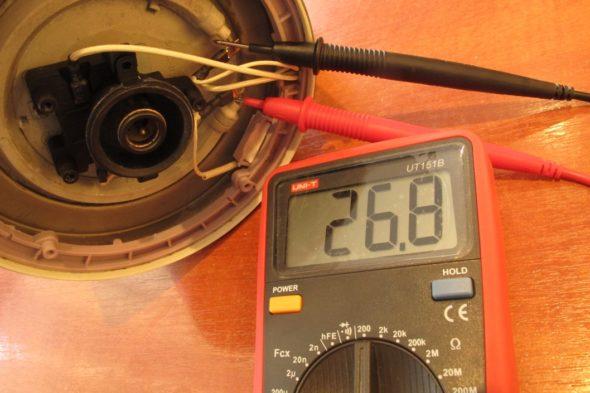 Измерение сопротивления спирали ТЭНа электрочайника