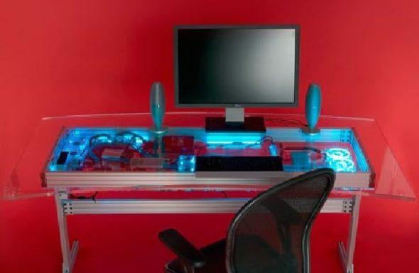 Компьютерный стол в интерьере хай-тек
