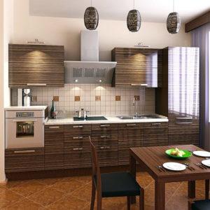 Кухня с интересными фактурными фасадами