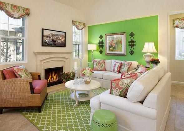 Модерн: воздушная гостиная с акцентами зелёного
