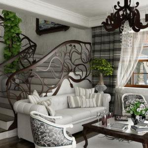 Лестница в гостиной с ажурными перилами