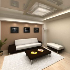 Гостиная с натяжным глянцевым потолком