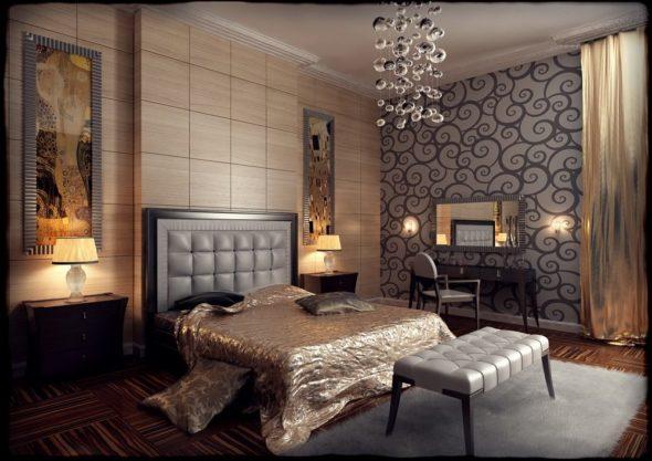 Спальня в бежево-серых тонах