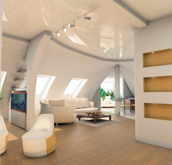 Гостиная в белых тонах с глянцевым натяжным потолком